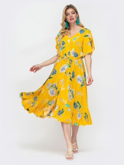 Жёлтое платье с кулиской в поясе и рукавами-воланами 48509, фото 1