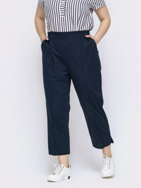 Хлопковые брюки большого размера тёмно-синие 47750, фото 1