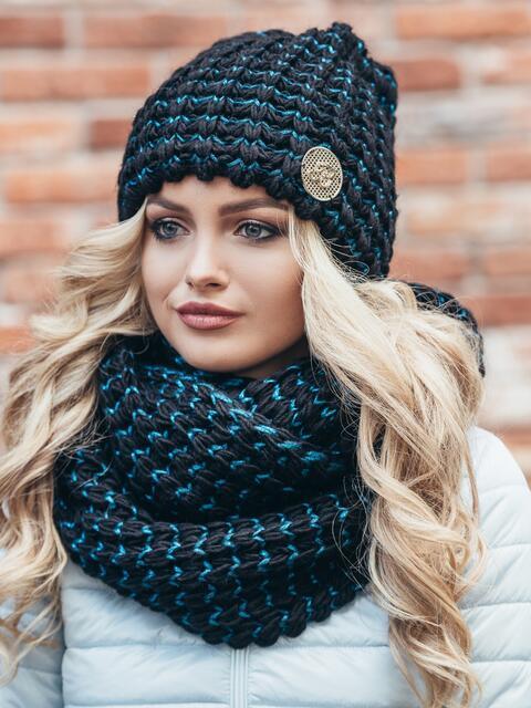 Комплект из шапки и снуда с контрастной нитью черно-бирюзовый - 15544, фото 1 – интернет-магазин Dressa