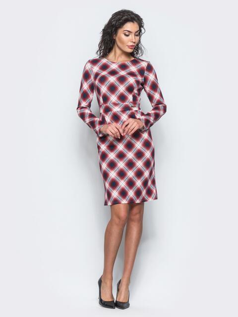 Красное приталенное платье с втачным поясом - 12687, фото 1 – интернет-магазин Dressa