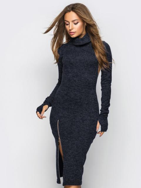 Платье-гольф тёмно-серого цвета с функциональной молнией 28251, фото 1