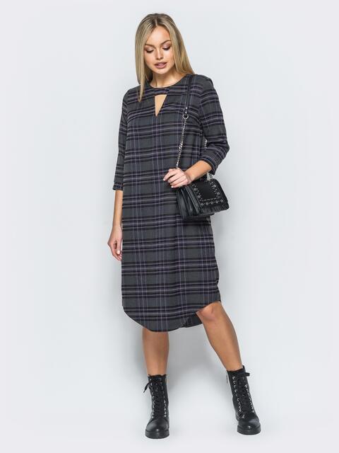 Платье из костюмной ткани с вырезом на горловине - 17591, фото 1 – интернет-магазин Dressa