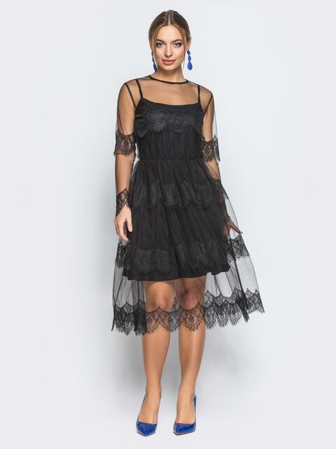 Платье-комбинация с талией на резинке и кружевом черное - 18244, фото 1 – интернет-магазин Dressa