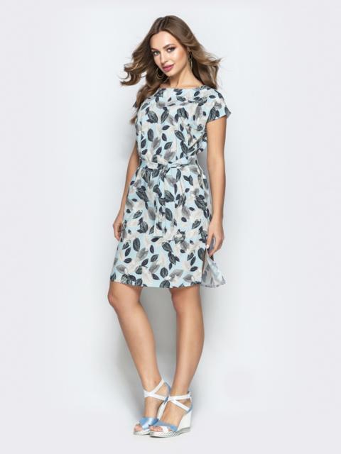 Прямое платье с растительным принтом из софта голубое - 22294, фото 1 – интернет-магазин Dressa