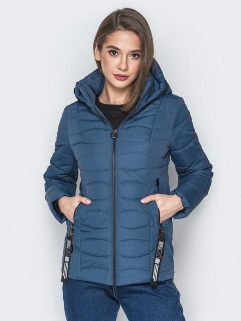 Синяя куртка с воротником-стойкой и съёмным капюшоном - 20295, фото 1 – интернет-магазин Dressa