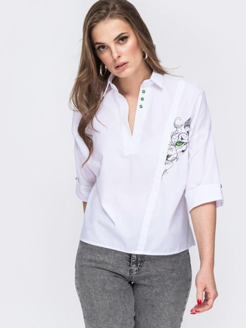 Белая рубашка с вышивкой и v-вырезом 45743, фото 1