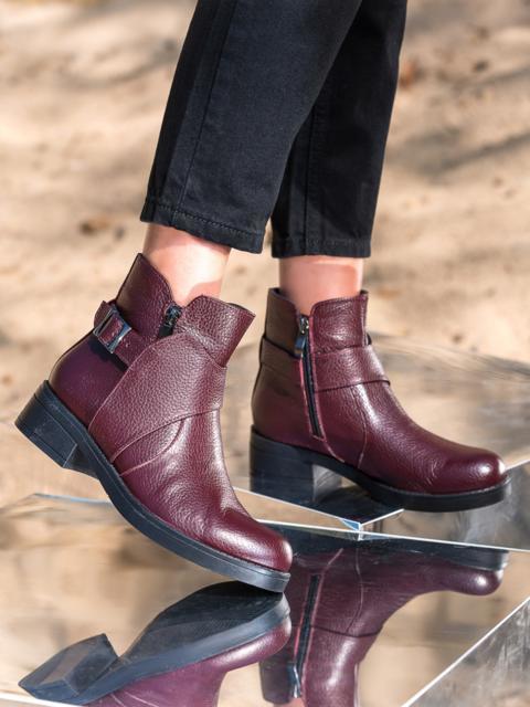 Ботинки из натуральной кожи бордового цвета - 41652, фото 1 – интернет-магазин Dressa