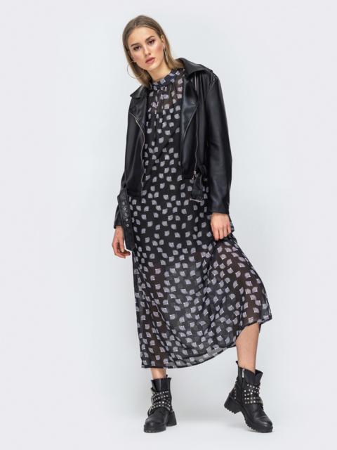 Чёрное платье из шифона с цветочным принтом 45731, фото 1