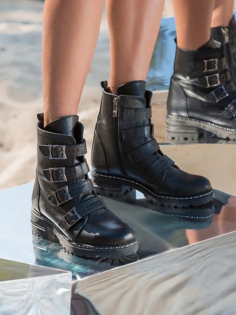 Чёрные ботинки из кожи с пряжками и молнией - 41661, фото 1 – интернет-магазин Dressa