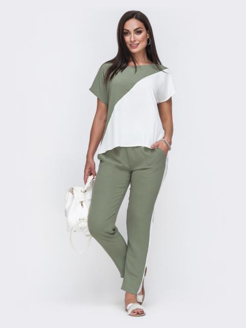 Комплект большого размера из блузки и брюк хаки 49583, фото 1