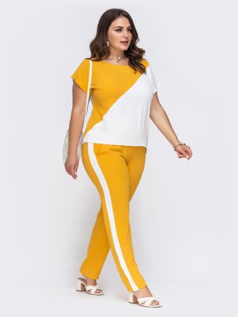 Комплект большого размера из блузки и брюк желтый 49582, фото 1