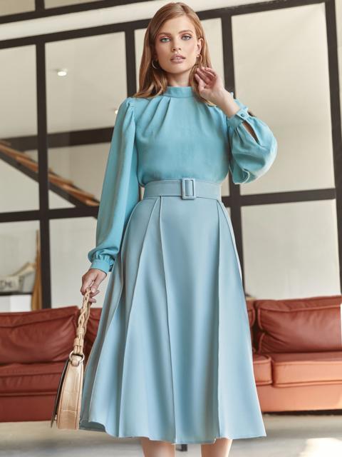 Костюм из блузки и юбки-полусолнце голубой 54809, фото 1