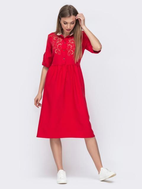 Красное платье с вышивкой и расклешеннной юбкой 45739, фото 1
