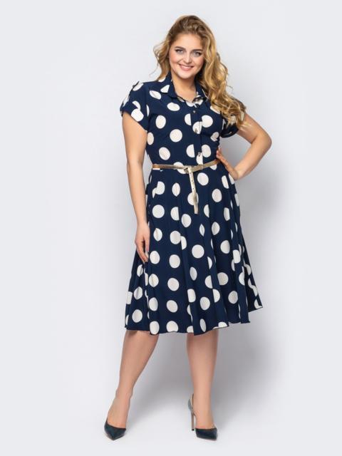 Платье-рубашка большого размера в горох темно-синее 53602, фото 1