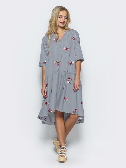 Платье-рубашка с вышивкой и воланом по низу серое - 12532, фото 1 – интернет-магазин Dressa