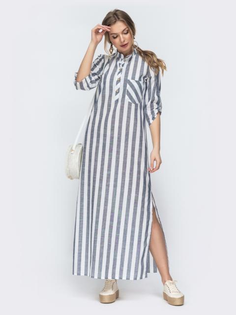 Прямое платье-макси в полоску с разрезами синее 45736, фото 1