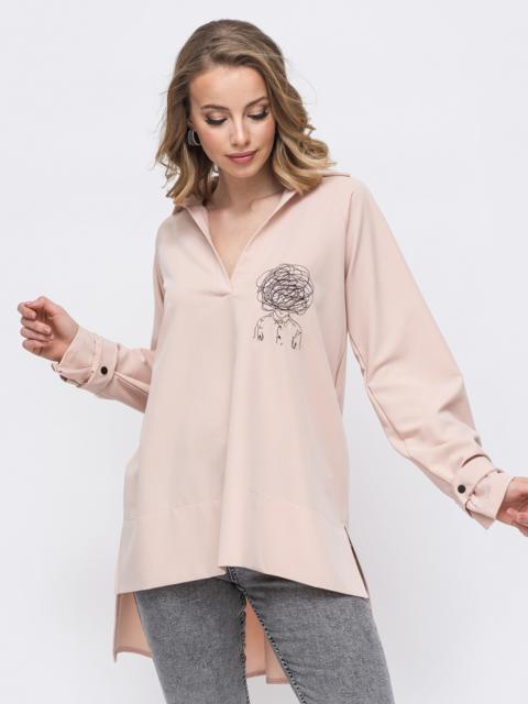 Рубашка с вышивкой и удлиненной спинкой бежевая 45745, фото 1