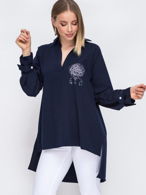 Рубашка с вышивкой и удлиненной спинкой тёмно-синяя 45744, фото 1