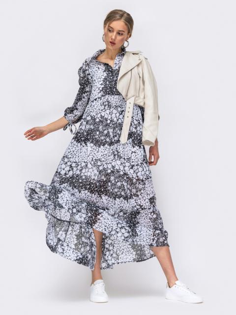 Серое платье с принтом и пуговицами на кокетке 45735, фото 4
