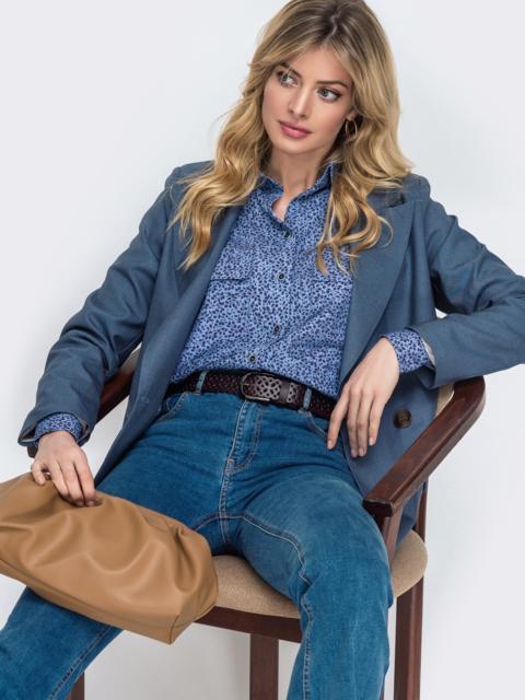 Синяя рубашка прямого кроя с принтом - 45747, фото 1 – интернет-магазин Dressa
