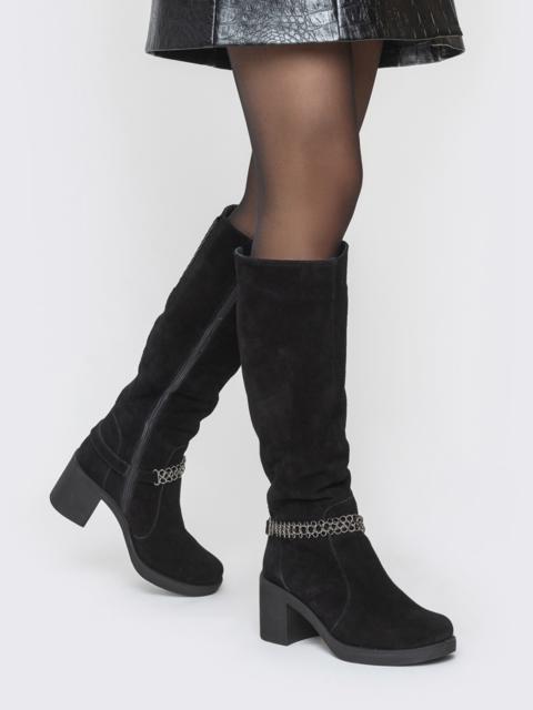 Замшевые сапоги чёрного цвета на каблуке - 41678, фото 1 – интернет-магазин Dressa