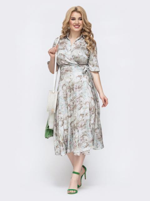 Зеленого платье на запах большого размера с цветочным принтом 46032, фото 1
