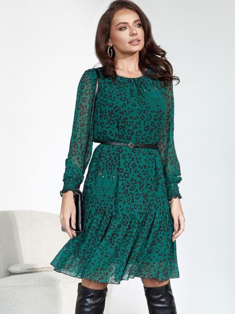 Зеленое платье-трапеция из шифона с принтом 55118, фото 1