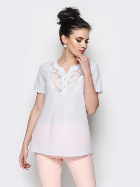 Белая блузка со вставками из прошвы 25357, фото 1