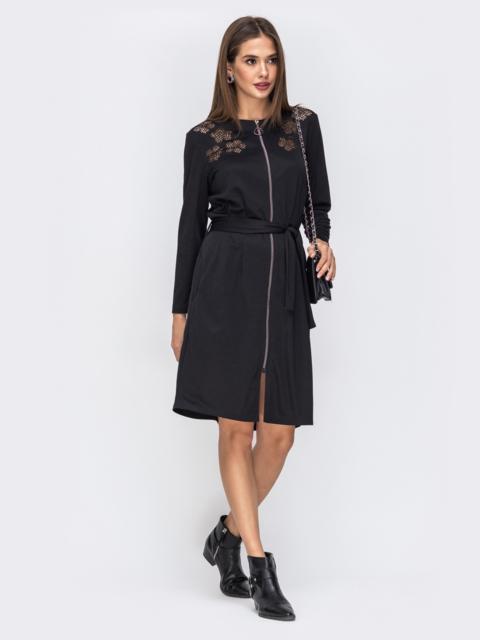 Чёрное платье-миди с перфорацией на полочке 42295, фото 1