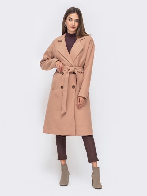 Двубортное пальто прямого кроя с подкладке бежевое - 41307, фото 1 – интернет-магазин Dressa