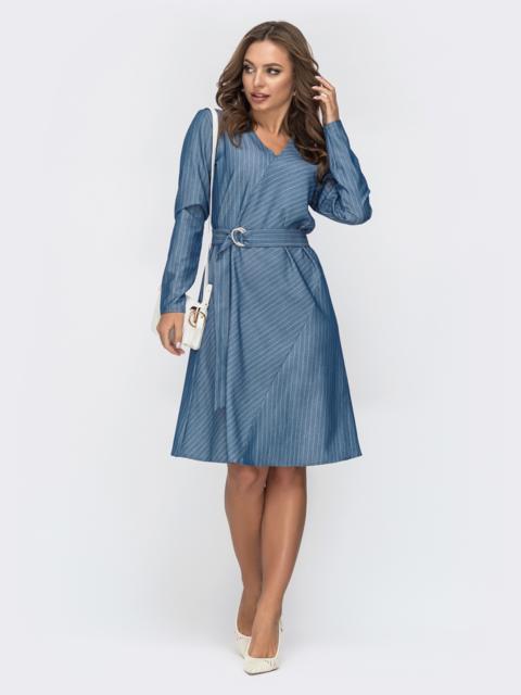 Голубое платье в полоску с V-вырезом 45008, фото 1