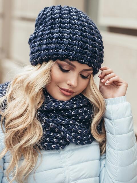 Комплект из шапки и снуда с контрастной нитью синий - 15536, фото 1 – интернет-магазин Dressa