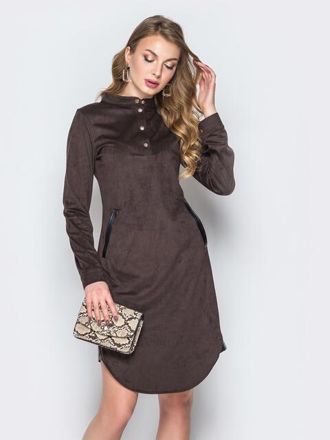 Коричневое платье с воротником-стойкой и кнопками - 19717, фото 1 – интернет-магазин Dressa