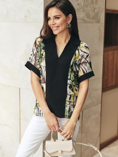 Принтованная блузка с коротким рукавом и отложным воротником черная 54614, фото 1