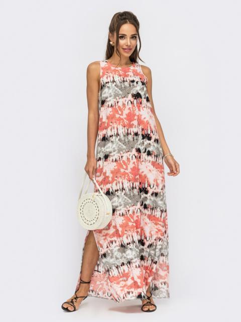 Принтованное платье-макси из поплина с разрезами по бокам красное 53847, фото 1
