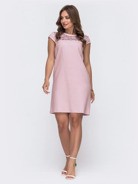 Пудровое платье с рукавом «крылышко» и кокеткой «макраме» 48592, фото 1