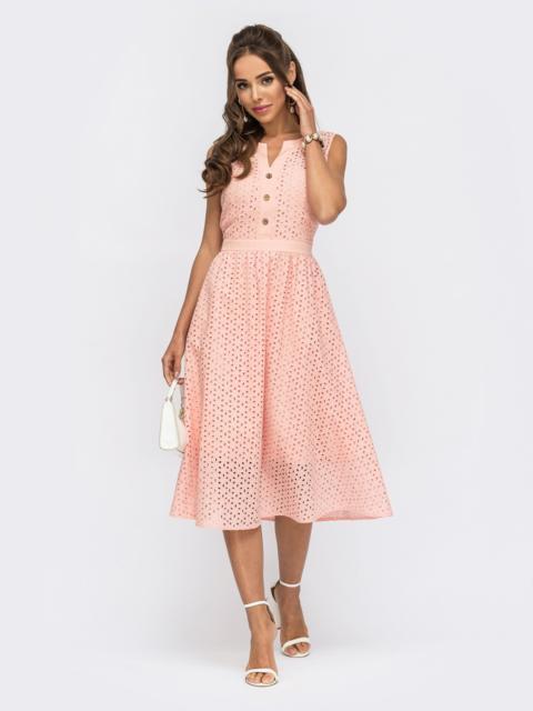 Расклешенное платье из прошвы с фигурным вырезом розовое 53862, фото 1