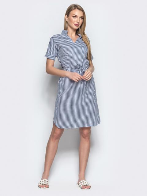 Синее платье в узкую полоску с разрезами по бокам 21824, фото 1