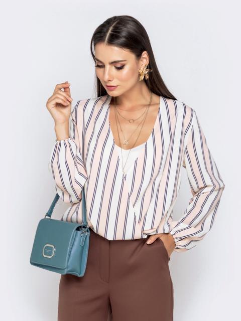Свободная блузка в полоску пудровая - 40736, фото 1 – интернет-магазин Dressa