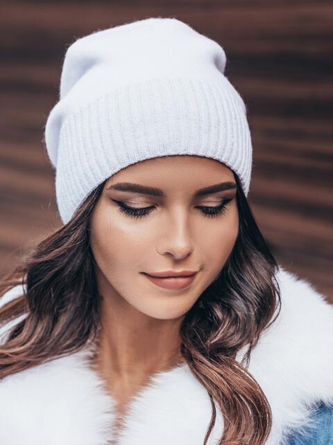Белая зимняя шапка без помпона - 14728, фото 1 – интернет-магазин Dressa