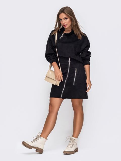 Черный комплект-двойка из кофты и юбки 50837, фото 1