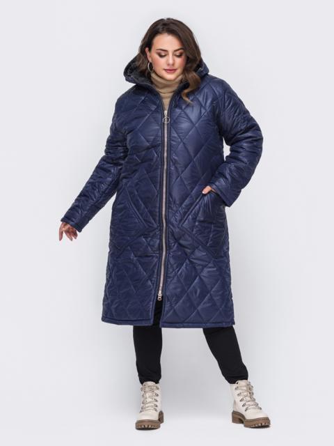 Куртка батал тёмно-синего цвета со вшитым капюшоном 50741, фото 1