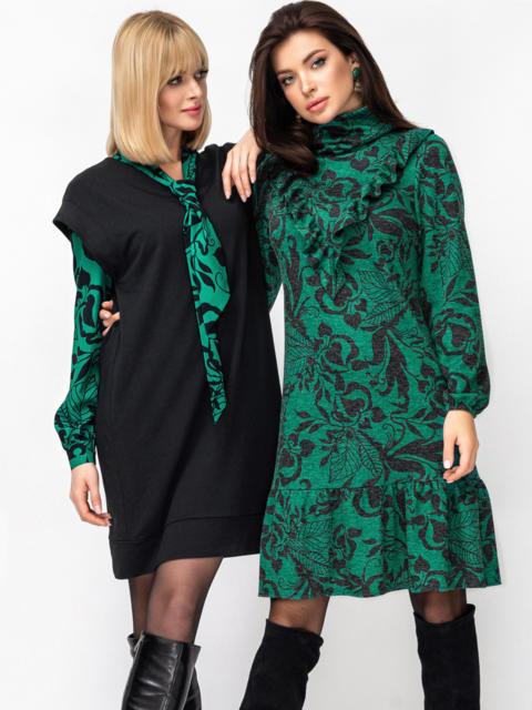Платье-гольф с принтом и оборкой на полочке зеленое 52940, фото 1