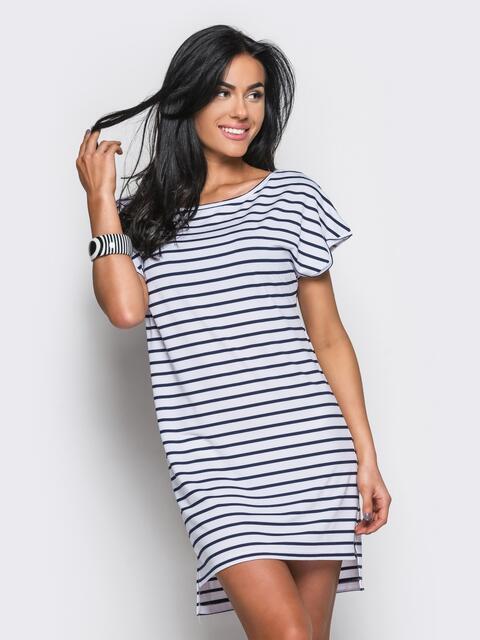 Платье в черную полоску с удлиненной спинкой - 11312, фото 1 – интернет-магазин Dressa