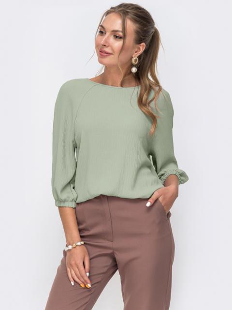 Свободная блузка с рукавом-реглан зеленая 51057, фото 1