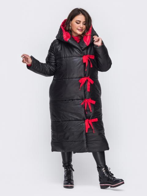 Удлиненная куртка со вшитым капюшоном чёрная 50739, фото 1