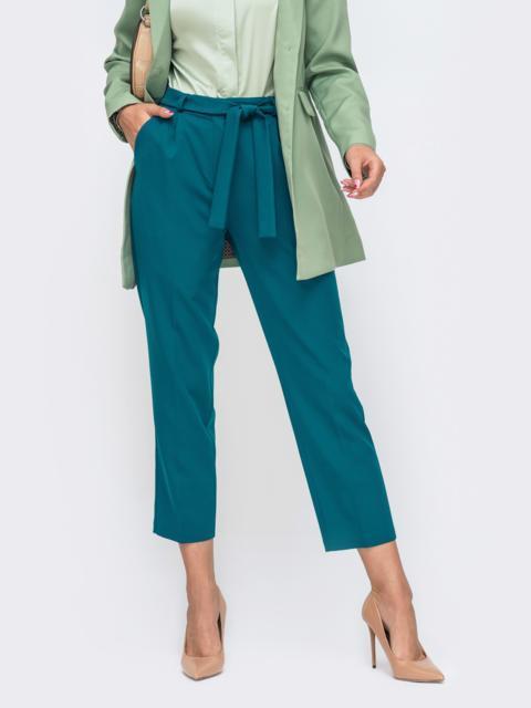 Укороченные брюки со шлевками и поясом бирюзовые 50215, фото 1