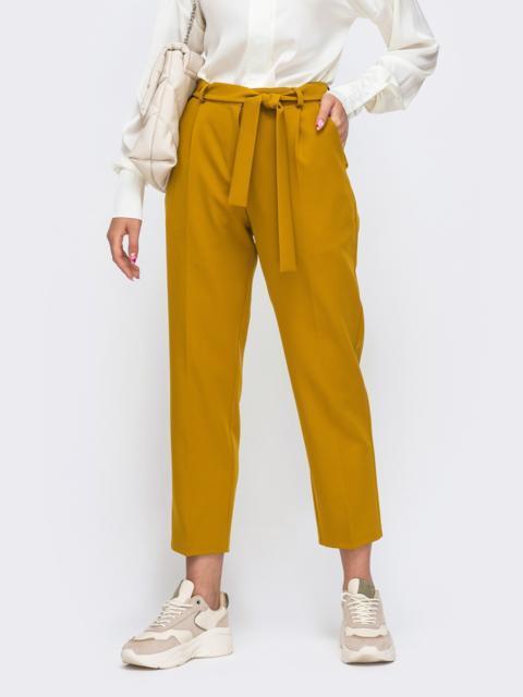 Укороченные брюки со шлевками и поясом желтые 50214, фото 1