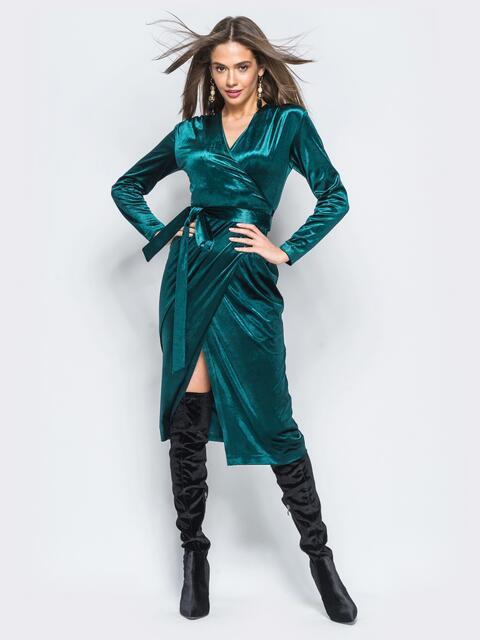 Велюровое платье изумрудного цвета с запахом - 17696, фото 1 – интернет-магазин Dressa