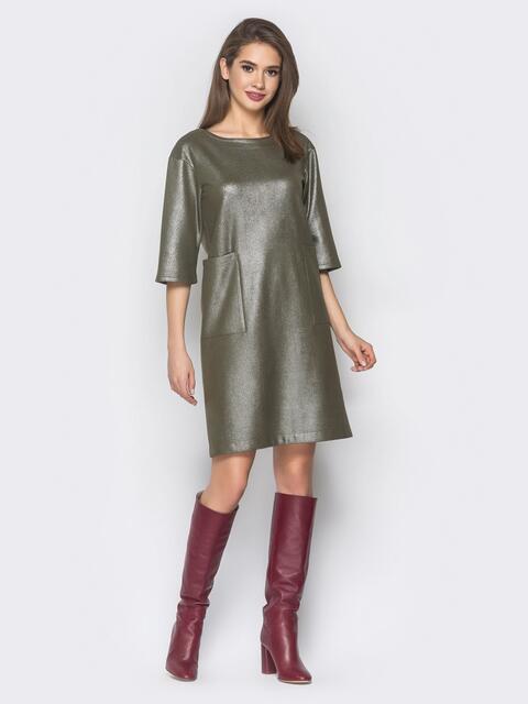 Зелёное платье из замши с напылением - 18677, фото 1 – интернет-магазин Dressa